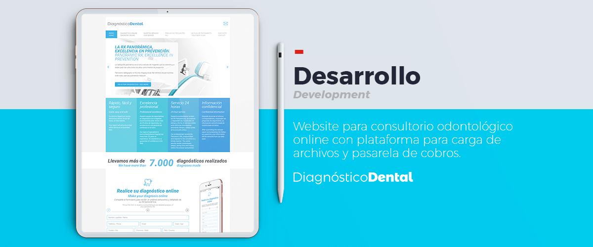 Website para consultorio odontológico online con plataforma para carga de archivos y cobros.